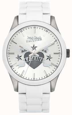 Jean Paul Gaultier Enfants terribles blanco pulsera de acero de caucho esfera blanca JP8501123