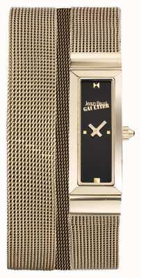 Jean Paul Gaultier Mujeres cote de maille gold pvd malla pulsera esfera negra JP8503903