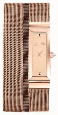 Jean Paul Gaultier Mujeres cote de maille rosa oro pvd malla pulsera rosa marca JP8503906