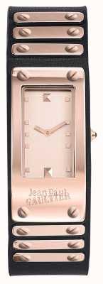 Jean Paul Gaultier Dial de oro negro de la correa de cuero de la fábrica JP8503803