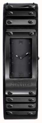 Jean Paul Gaultier Correa de cuero negro de fábrica dial negro rosa JP8503802