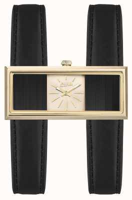 Jean Paul Gaultier Dial de oro de la correa de cuero negro doble mujer jeu JP8505003