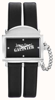 Jean Paul Gaultier Womens 325 correa de cuero negro esfera negra JP8501609