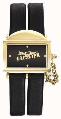 Jean Paul Gaultier Womens 325 correa de cuero negro esfera negra JP8501608