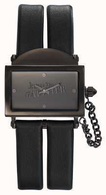 Jean Paul Gaultier Womens 325 correa de cuero negro esfera negra JP8501610