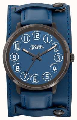 Jean Paul Gaultier Correa de cuero azul para hombres decroche azul JP8504704