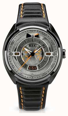 REC Correa de cuero negro automático Porsche dial p-901-03