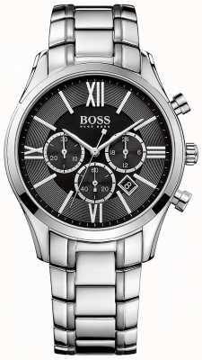 Hugo Boss Mens embajador pulsera de acero inoxidable esfera negra 1513196