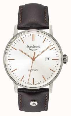 Bruno Sohnle Reloj grande automático de cuero negro de 44 mm Stuttgart 17-12173-245