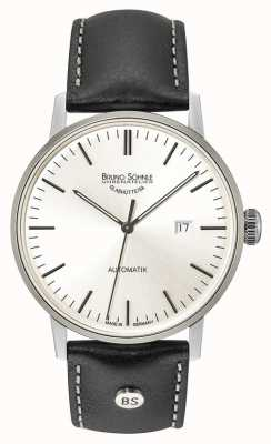 Bruno Sohnle Reloj grande automático de cuero negro con esfera plateada de Stuttgart de 64 mm de Stuttgart 17-12173-247