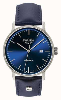 Bruno Sohnle Reloj grande automático de cuero azul de 44 mm Stuttgart 17-12173-341
