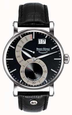 Bruno Sohnle Reloj de cuero negro Pesaro ii 43 mm 17-13073-781