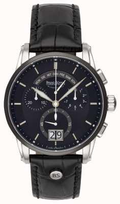Bruno Sohnle Reloj de cuero negro Grandioso 42.5mm 17-73117-741