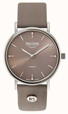Bruno Sohnle Reloj de cuero gris Flamur ii de 35 mm 17-13124-891