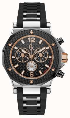 Gc Reloj cronógrafo negro especial para hombre 3 cronógrafo plateado X72036G2S