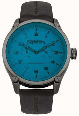 Superdry Reloj para hombre con correa de cuero azul SYG208UBR