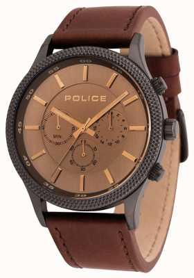Police Reloj cronógrafo de cuero marrón para hombre 15002JSU/13