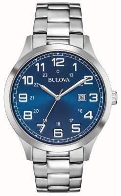 Bulova Reloj para hombre reloj pulsera azul de acero inoxidable 96B273