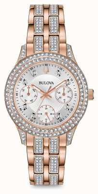 Bulova Reloj de cristal rosa dorado para mujer 98N113