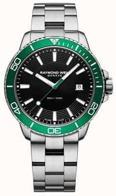 Raymond Weil Reloj de acero inoxidable con bisel verde Tango 8260-ST7-20001
