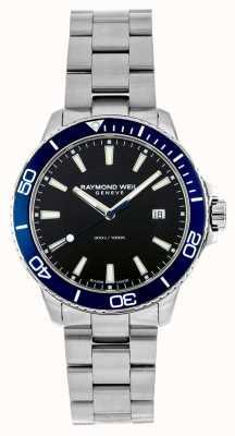 Raymond Weil Reloj de acero inoxidable con bisel azul Tango 8260-ST3-20001