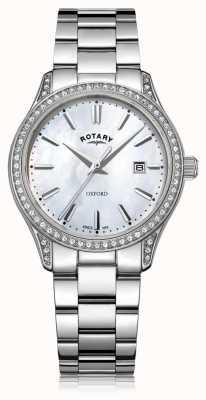 Rotary Reloj de cuarzo oxford blanco acero inoxidable para mujer LB05092/41