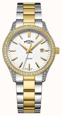 Rotary Reloj de cuarzo oxford dos tonos acero inoxidable para mujer LB05093/02