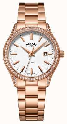 Rotary Reloj de cuarzo de acero inoxidable oxford rosa dorado para mujer LB05096/02