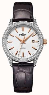 Rotary Reloj de cuarzo de acero inoxidable correa de cuero oxford para mujer LS05092/02