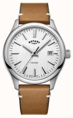 Rotary Reloj de cuarzo de acero inoxidable oxford plateado para hombre GS05092/02