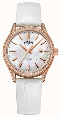 Rotary Reloj de cuarzo de oro rosa con correa de cuero para mujer LS05096/41