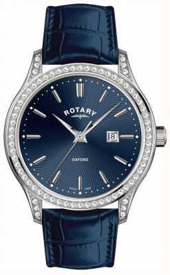 Rotary Reloj de cuarzo azul correa de cuero oxford para mujer LS05092/05