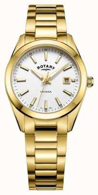 Rotary Reloj blanco plateado habana para mujer LB05081/02