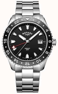 Rotary Reloj de cuarzo negro henley para hombre de acero inoxidable GB05108/04
