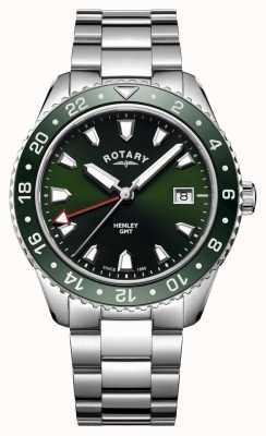 Rotary Reloj de cuarzo de acero inoxidable henley verde para hombre GB05108/24