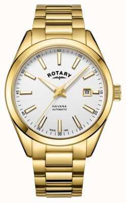 Rotary Reloj de acero inoxidable blanco plateado havana para hombre GB05081/02