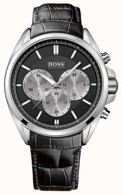 Hugo Boss Reloj cronógrafo de cuero negro para hombre 1512879