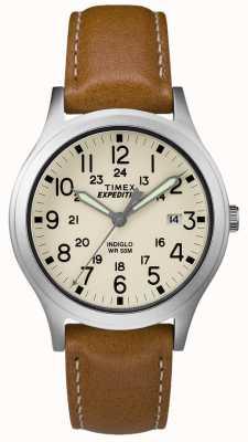 Timex Hombres expedición scout correa de cuero marrón esfera natural TW4B11000