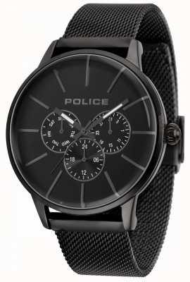 Police Brazalete de malla negra rápida para hombres con esfera negra 14999JSB/02MM