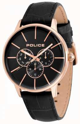 Police Correa de cuero negro para hombre mens dial negro 14999JSR/02