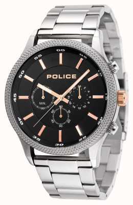 Police Brazalete de acero inoxidable para hombre con marca negra 15002JS/02M