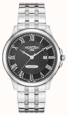 Roamer Pulsera para hombre de acero inoxidable con brazalete negro 706856415270