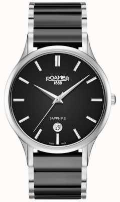 Roamer Hombres c-line negro reloj de cerámica caja de plata 657833415560