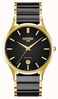 Roamer Hombres c-line negro reloj de cerámica caja de oro 657833485560