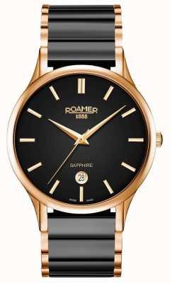 Roamer Hombres c-line reloj de cerámica negro caja de oro rosa 657833495560