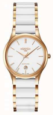Roamer Reloj de cerámica blanco para mujer c-line caja de oro rosa 657844492560