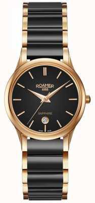 Roamer Reloj de cerámica negro para mujer c-line caja de oro rosa 657844495560
