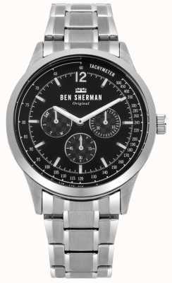 Ben Sherman Mens plata pulsera negro esfera multifunción WB073BSM