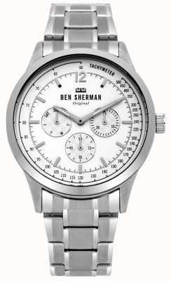 Ben Sherman Mens plata pulsera esfera blanca multifunción WB073SM