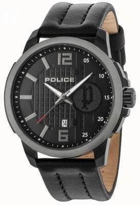 Police Estuche para hombre negro correa negra de cuero con dial 15238JSBU/02
